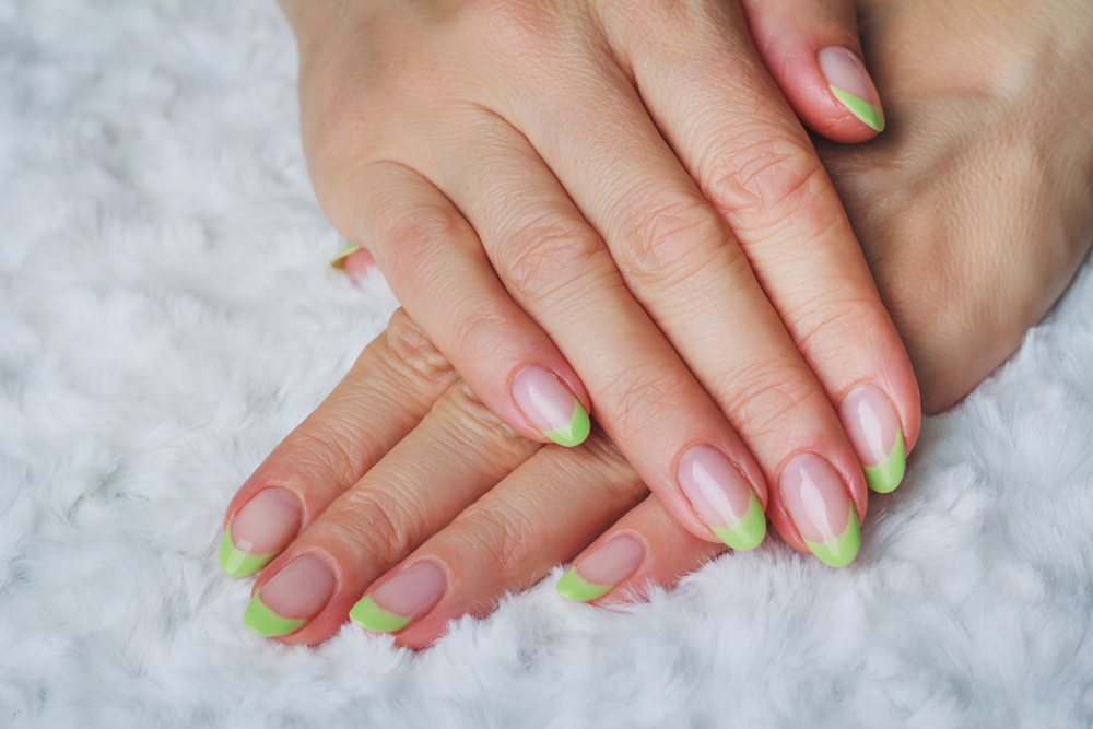 Green French manicure for St. Patrick