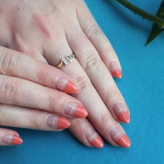 Coral-Colored Nails Tips