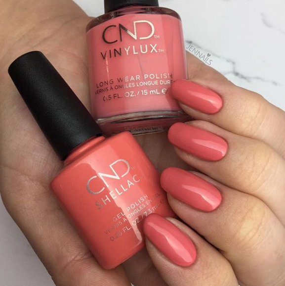 Coral-Colored Nails Glossy