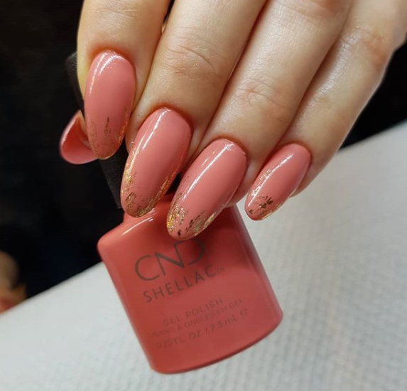 Coral-Colored Nails With Gold Foil
